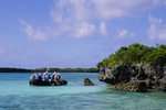 Tourists explore inner lagoon, Aldabra Atoll, Seychelles, Indian ocean