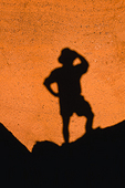 Hiker silhouette, Red Mountain geologic Area, Coconino National Forest, Arizona