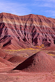 Sedimentary layers of the Painted Desert, Mesozoic era, Triassic Chile Formation, Colorado Plateau near Petrified Forest National Park, Arizona