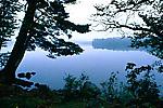 Lake Eaton in morning mist of early autumn, Lake Eaton State Park, Adirondack Park, upstate New York, USA, September, 42,224.