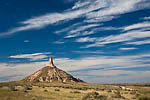 Chimney Rock, a famous feature along the Oregon, California, and Mormon Trails, now preserved in Chimney Rock National Historic Site, under dramatic clouds, Nebraska, USA, October, 2007_NE_1820