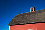 Red barn built in 1908 to store hay and grain grown on the farm settled by Samuel and Sarah Olmstead in 1875, Olmstead Place State Park, Kittitas Valley near Ellensburg, Washington, USA, November, 2007_WA_2071