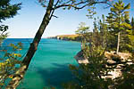 View of the Pictured Rocks and Lake Superior looking east from just west of Chapel Beach, Pictured Rocks National Lakeshore, Upper Peninsula, Michigan, USA, October, 2007_UP_1251