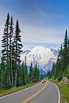 Motorcycles approaching Sunrise Point of Mount Rainier National Park, with Mount Rainier distant, Washington, USA, August, 2008_WA_4470