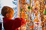 Six-year-old boy (Max Rentz) enjoying the magic of a creative Christmas tree, 2007_AK_2236