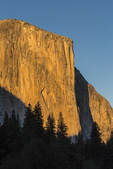 The monolith of El Capitan photographed in late afternoon autumn light from a bend in the Merced River in Yosemite Valley, Yosemite National Park, California, USA