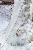 Technical ice axes and ropes used in the sport of ice climbing, viewed along the Munising Ski Trail, which is operated by the National Park Service in the Sand Point area of Pictured Rocks National Lakeshore in the Upper Peninsula of Michigan, USA