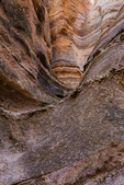 Cross-bedded layers of Peralta Tuff along the Slot Canyon Trail at Kasha-Katuwe Tent Rocks National Monument in New Mexico, USA
