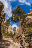 Hiking along the Slot Canyon Trail at Kasha-Katuwe Tent Rocks National Monument in New Mexico, USA