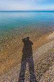 Selfie along the shore of Lake Michigan at Point Betsie Lighthouse near Frankfort, Michigan, USA
