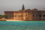 Approaching Fort Jefferson and Garden Key Light by ferry, Dry Tortugas National Park, Florida, USA