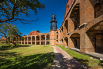 Harbor Light and parade ground are part of the elegant ruins of Fort Jefferson on Garden Key in Dry Tortugas National Park, Florida, USA