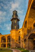 Harbor Light and the elegant ruins of Fort Jefferson on Garden Key in Dry Tortugas National Park, Florida, USA