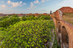 View of the parade ground from atop Fort Jefferson, Garden Key in Dry Tortugas National Park, Florida, USA