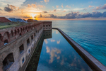 View of sunset over Fort Jefferson in Dry Tortugas National Park, Florida, USA