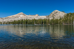 Lake of the Woods with Pyramid Peak and the Crystal Range in the distance in the Desolation Wilderness, Eldorado National Forest, Sierra Nevada, California, USA