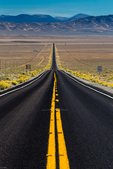 US 50, known as the Loneliest Road in America, heading east between Fallon and Austin, Nevada, USA