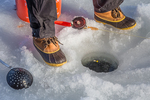 Ice fishing on Lake of the Clouds, Canadian Lakes, Stanwood, Michigan, USA