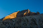Jeff Davis Peak, the rugged, third-highest peak in Nevada, viewed in sunset light from the vicinity of Stella Lake, with a moraine in front of the peak, Great Basin National Park, Nevada, USA