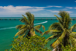 Looking out toward the Gulf of Mexico from Bahia Honda, with palm trees in the wind, in Bahia Honda State Park, Florida Keys, USA