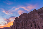 Sunset over the eroded formations in Cathedral Gorge State Park, Nevada, USA