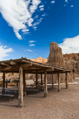 Rustic picnic pavillion built in the parkitecture style by Company 974 of the Civilian Conservation Corps during the Great Depression, Cathedral Gorge State Park, Nevada, USA