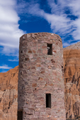 Stone water tower built by the Civilian Conservation Corps during the Great Depression, Cathedral Gorge State Park, Nevada, USA