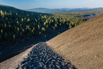 Descending from the summit of Cinder Cone, along the Cinder Cone Trail from Butte Lake Campground to Cinder Cone in Lassen Volcanic National Park, California, USA