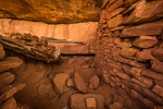 Interior of a room in an Ancestral Puebloan ruin in Road Canyon (taken through opening without entering ruin) in Bears Ears National Monument, southern Utah, USA