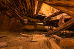 Interior of a room, showing roof construction techniques) in an Ancestral Puebloan ruin in Road Canyon (taken through opening without entering ruin) in Bears Ears National Monument, southern Utah, USA