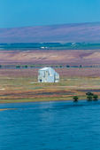 Old nuclean reactor building along the Columbia River in Hanford Reach National Monument, Columbia River Basin, Washington State, USA