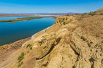 View from bluffs along the Columbia River in Hanford Reach National Monument, Columbia River Basin, Washington State, USA