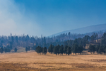 Smoky air from a prescribed burn in Valles Caldera National Preserve, a preserve run by the National Park Service, New Mexico, USA