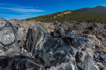 Obsidian rock along the Big Obsidian Flow Trail in Newberry National Volcanic Monument, central Oregon, USA