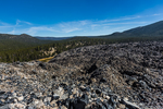 View from Big Obsidian Flow Trail, looking down on Big Obsidian Flow in Newberry National Volcanic Monument, central Oregon, USA