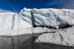 Melting water gathered into a glacial lake near the end of Matanuska Glacier, northeast of Anchorage, Alaska, USA