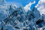 Chaos of cravasses and jumbled ice at the end of the Matanuska Glacier, northeast of Anchorage, Alaska, USA