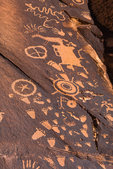 Petroglyphs made by Ute People at Newspaper Rock in Indian Creek National Monument, formerly part of Bears Ears National Monument, southern Utah, USA