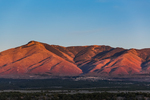 Taos Mountains in sunset glow, viewed from the Wild Rivers Area of Rio Grande del Norte National Monument near Taos, New Mexico, USA