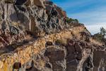 Trail from La Junta Point descending into the canyon in the Wild Rivers Area of Rio Grande del Norte National Monument near Taos, New Mexico, USA