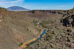 Rio Grande, with Ute Mountain distant, in the Wild Rivers Area of Rio Grande del Norte National Monument near Taos, New Mexico, USA