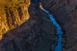 View of Rio Grande Gorge in the shadows of late afternoon from the Rio Grande Gorge Bridge, Rio Grande del Norte National Monument, New Mexico, USA