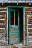 Old dooron a log cabin in Harper Ghost Town, an old town an stagecoach stop in Nine Mile Canyon, Utah, USA