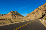 Road recently paved to help prevent dust deterioration of the petroglyphs of Nine Mile Canyon, Utah, USA