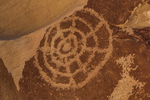 Shield-like Petroglyph with concentric circles and radiating lines, of unknown meaning, in Nine Mile Canyon, Utah, USA