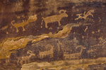 Bighorn Sheep petroglyph on the sandstone walls of Nine Mile Canyon, Utah, USA
