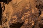 Petroglyphs portraying a hunting scene in Nine Mile Canyon, Utah, USA