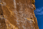 Elk Petroglyph on a cliff high above Nine Mile Canyon, Utah, USA
