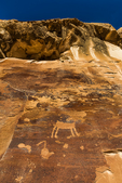 Petroglyphs on a cliff high above Nine Mile Canyon, Utah, USA