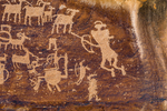 Great Hunt Panel, one of the best petroglyph panels in the world, created by the Fremont Culture in Nine Mile Canyon, Utah, USA